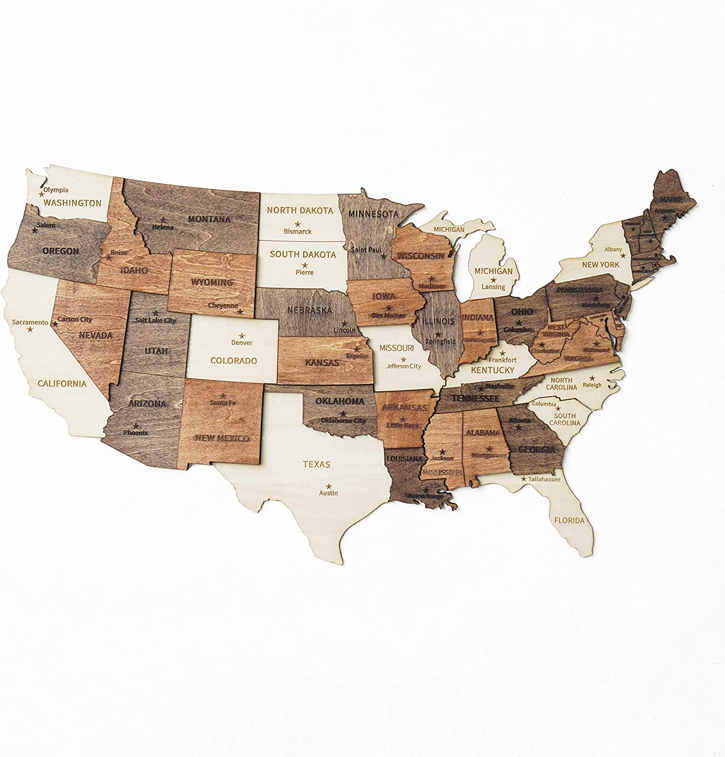 3D Wood Map Of United States, Christmas Gifts, Gifts For Thanksgiving, New Year Decor, Wall Art US Map, United States Travel Map, Office Wall Decor