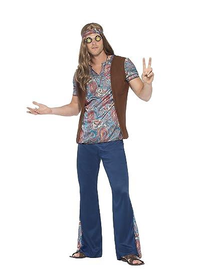 Smiffys 45517S Disfraz de Hippie de los años 60 para Hombre, Azul, S