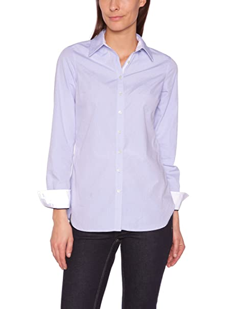 Tommy Hilfiger - Camisa de manga larga para mujer, talla 42, color coral
