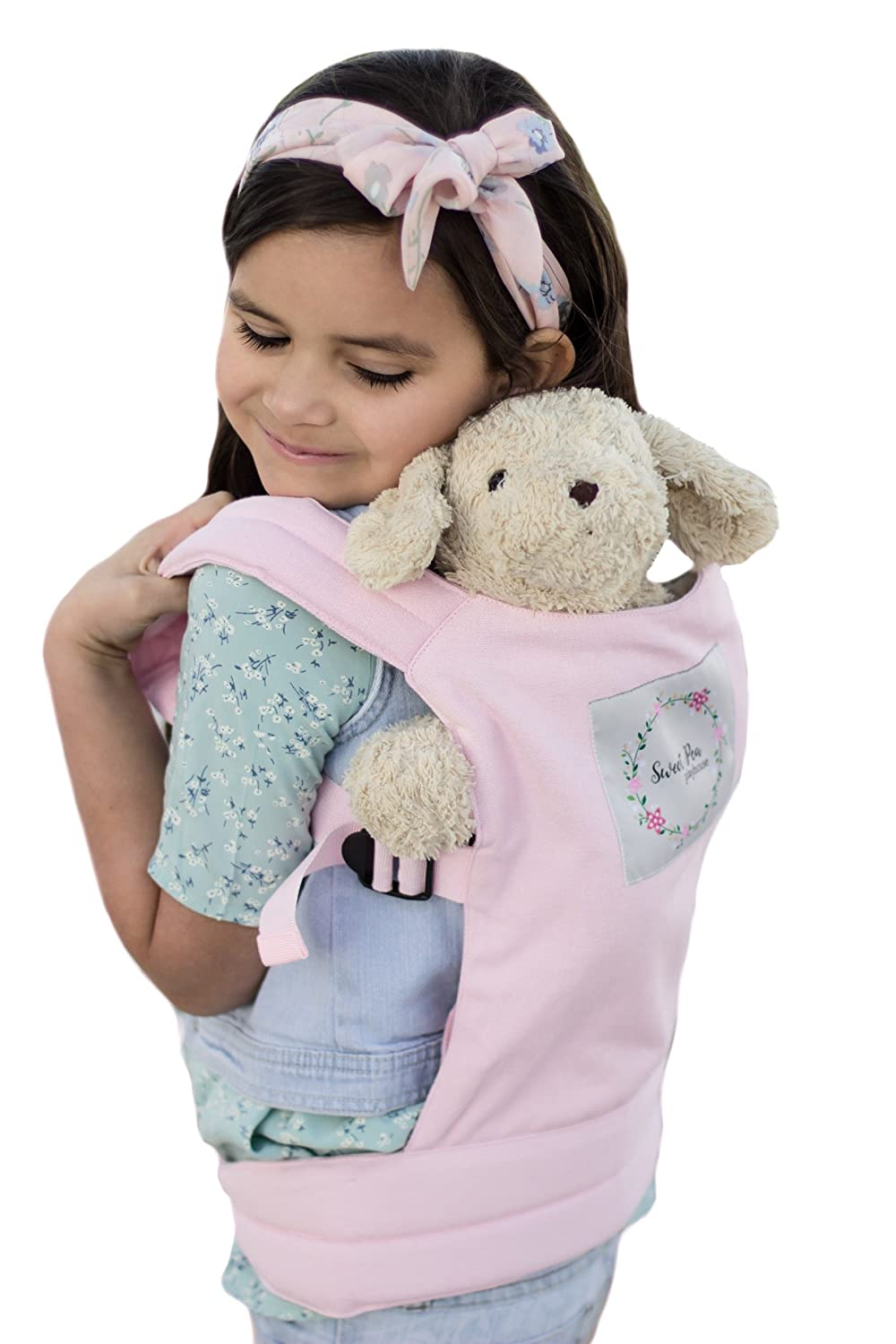 Baby Doll Carrier, Backpack Style, Stuffed Animal Snuggle Up, Adjustable Straps, Wearable Front and Back, For Kids ages 2+, Pink, by Sweet Pea Playhouse