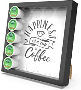 Nextation Coffee Pod Holder for K Cup, Wood Storage Organizer Holds 25 Pods compatible with Keurig K Cup Pods, Coffee Bar Decor, Replaceable Picture Tabletop Display (Black)