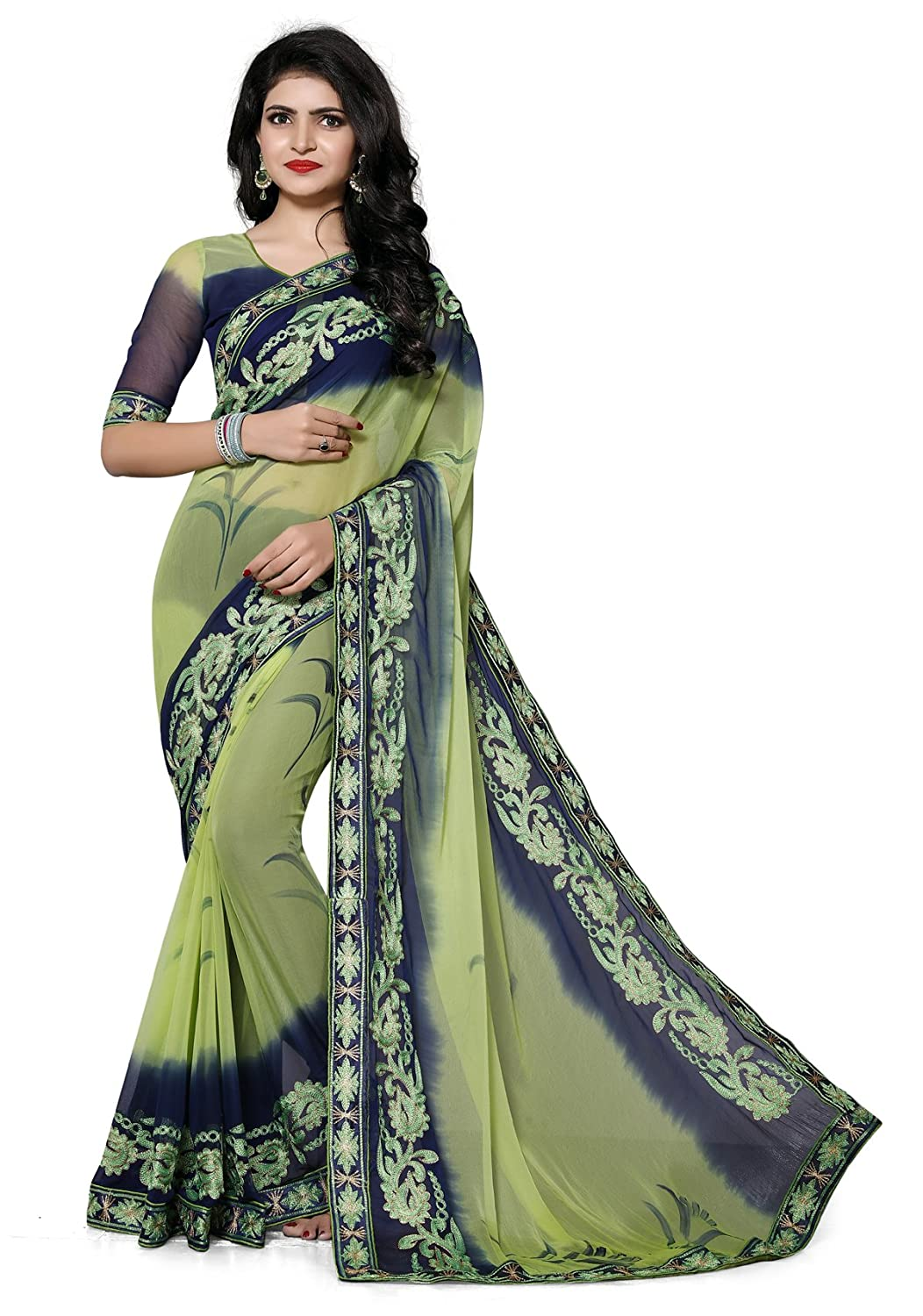 Culture Fab Chiffon Saree With Blouse Piece(1061_CL_Green_Free Size)