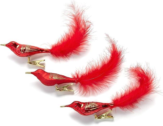 HEITMANN DECO Lot de 3 Oiseaux d/écoratifs en Verre avec Clip et Queue de Plumes Rouge