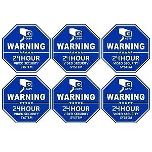 Homework2 CCTV Video Surveillance Security Door & Window Stickers, Blue Octagon-Shaped, 3.3 X 3.3 Inch Vinyl Decals - Indoor & Outdoor Use, UV Protected & Waterproof - 6 Labels