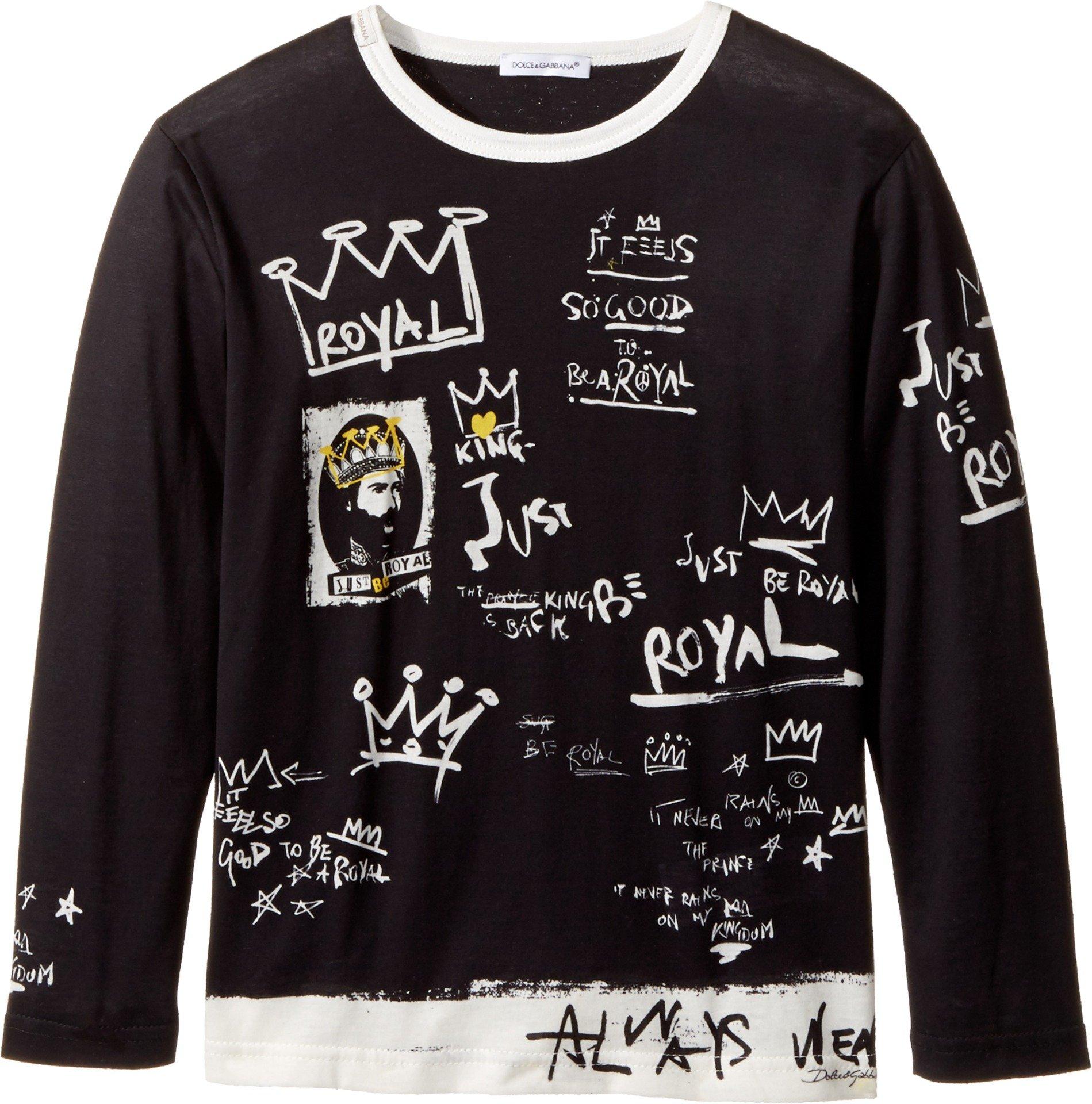 Dolce & Gabbana Kids  Baby Boy's Royal T-Shirt (Toddler/Little Kids) Black Print 6 by Dolce & Gabbana
