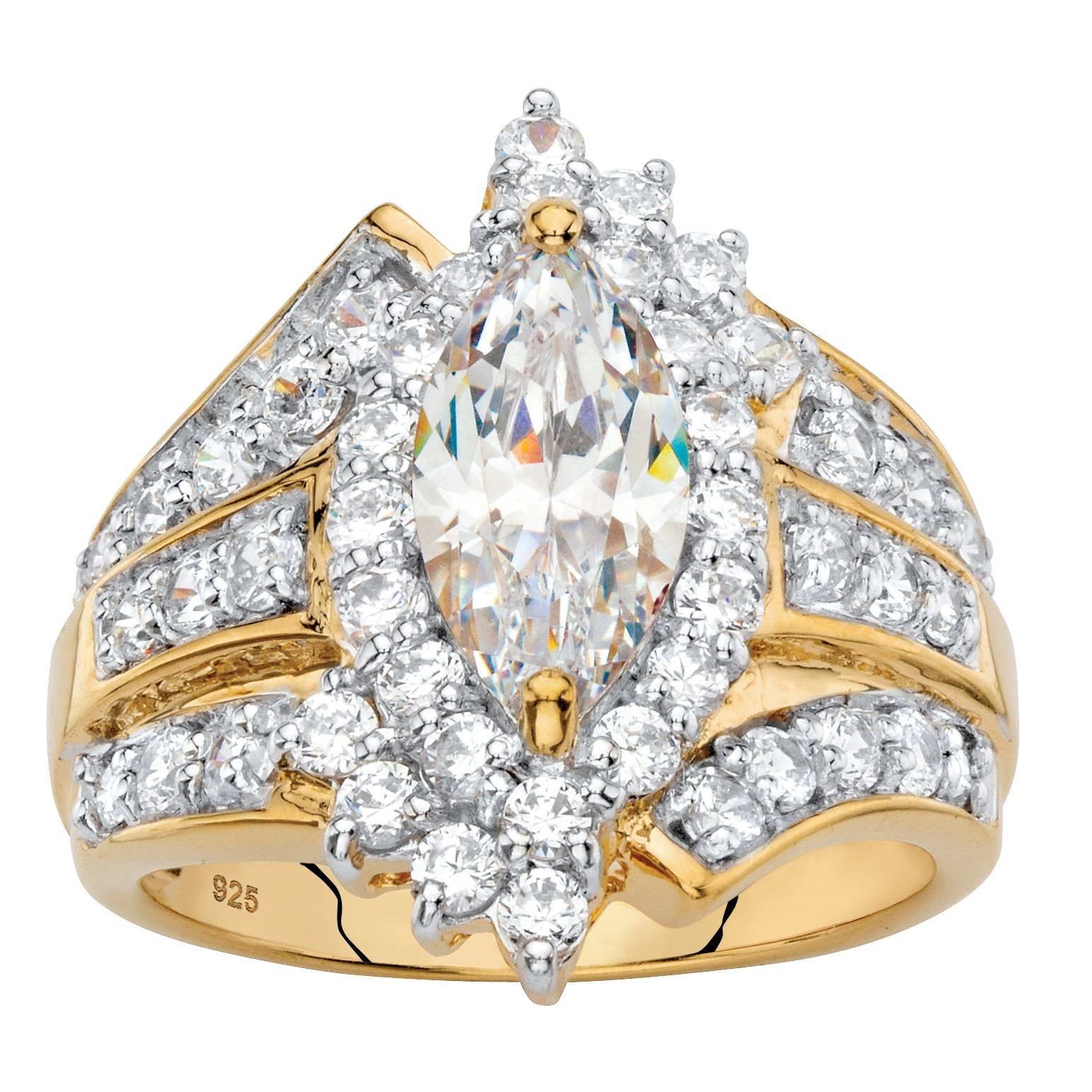 18k Gold over .925 Silver White Marquise Cubic Zirconia Triple Row Cocktail Ring Size 7