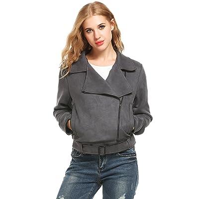 ACEVOG Women's Faux Leather Jacket Short Coat Outwear Asymmetric Zip Front Closure with Pockets at Amazon Women's Coats Shop