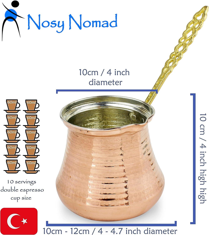 Nosy Nomad Cafetera Turca: Cezve Cafetera para Café Turco | Cafetera Arabe Ibrik con Mango | Olla de Cobre Martillado Otomana Hecha a Mano (Cobre, 10 porciones): Amazon.es: Hogar