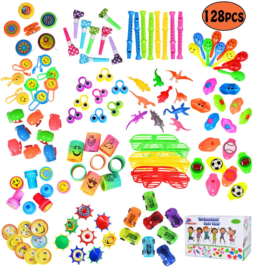 ebuddy 128Pc Carnival Prizes Toy Assortment Kids Party Favor, Birthday Party, School Classroom Rewards, Pinata, Christmas, Festival