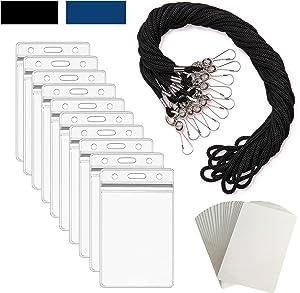 ID Badge Holder Lanyards for ID Badges - ID Holder for Lanyard Nurse Badge Reel ID Card Holder Lanyard Name Badge Holder - ID Lanyard Name Tag Holder Plastic Card Sleeves - Black Vertical - 55 Sets