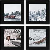 Golden State Art, Smartphone Instagram Frame Collection, Set of 4, 4x4-inch Square Photo Wood Frames, Black