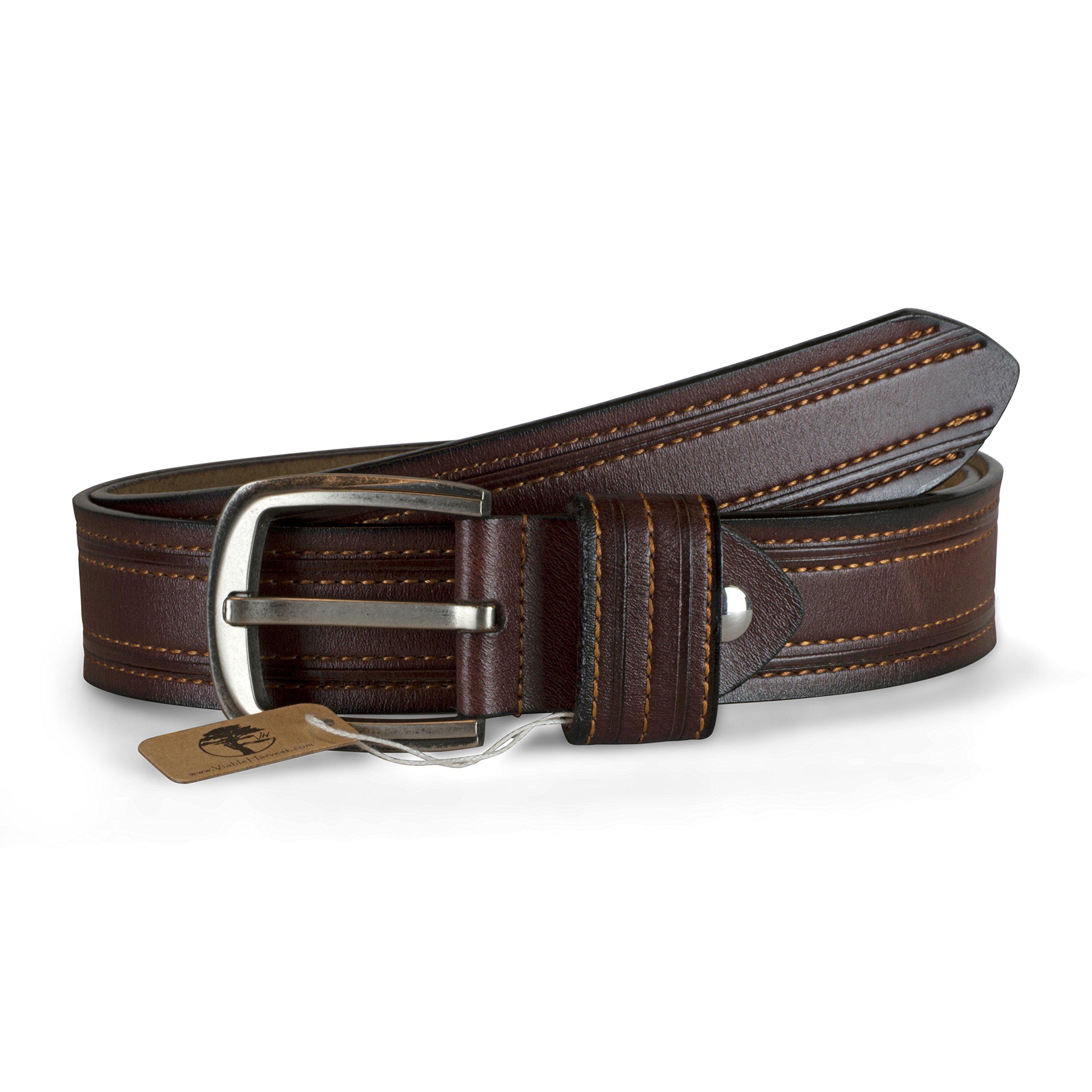 Viable Harvest Men's Professional Double Stitched Genuine Leather Belt (Med Brown)