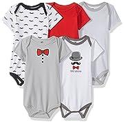 Hudson Baby Unisex Baby Cotton Bodysuits, Mustache 5 Pack, 3-6 Months (6M)