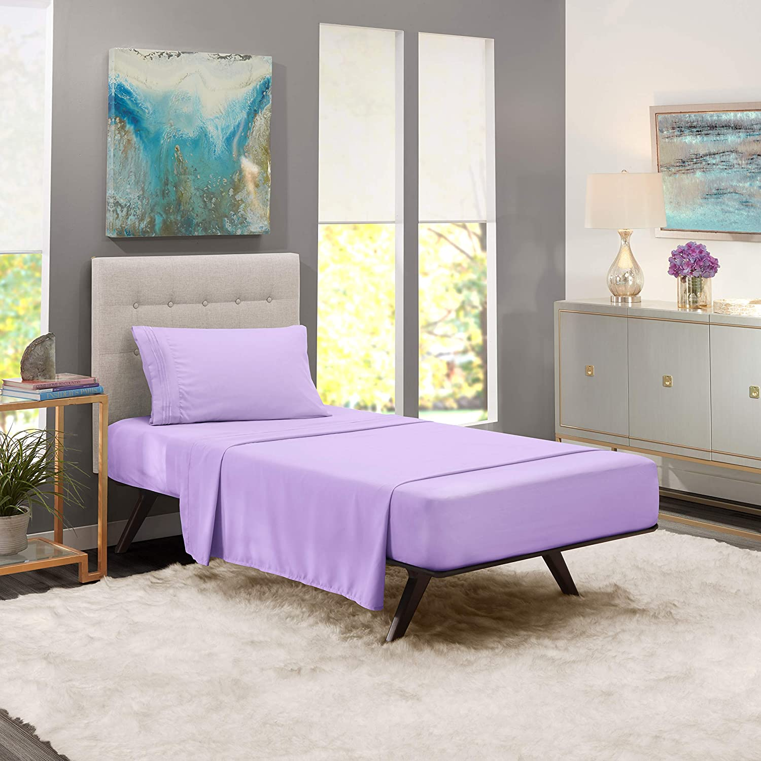 """Nestl Bedding Soft Sheet Set – 3 Piece Bed Sheet Set, 3-Line Design Pillowcase – Easy Care, Wrinkle Free – 10""""–16"""" Inches Deep Pocket Fitted Sheets – Free Warranty Included – Twin (Single), Lavender"""