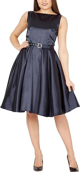 BlackButterfly Satén Audrey Vestido Vintage De Los Años 50 Clarity (Azul Oscuro,