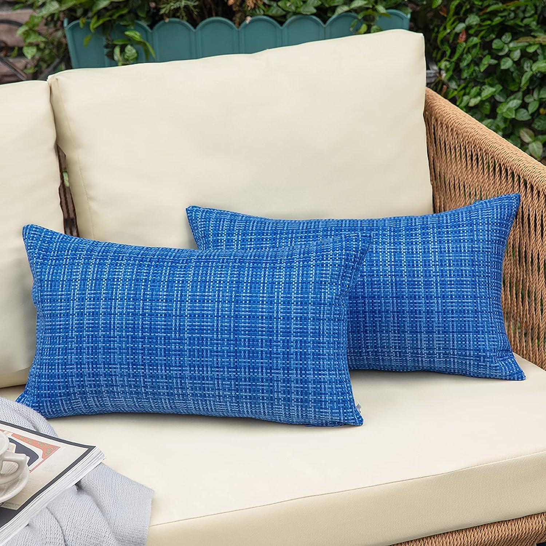 NEERYO Outdoor Throw Pillows Covers Waterproof Stripe 12x20 inch Decorative Couch Farmhouse Pillows for Patio Furniture Garden Livingroom Bed Decor Cushion Sham Throw Pillowcase Set of 2 Ocean Blue
