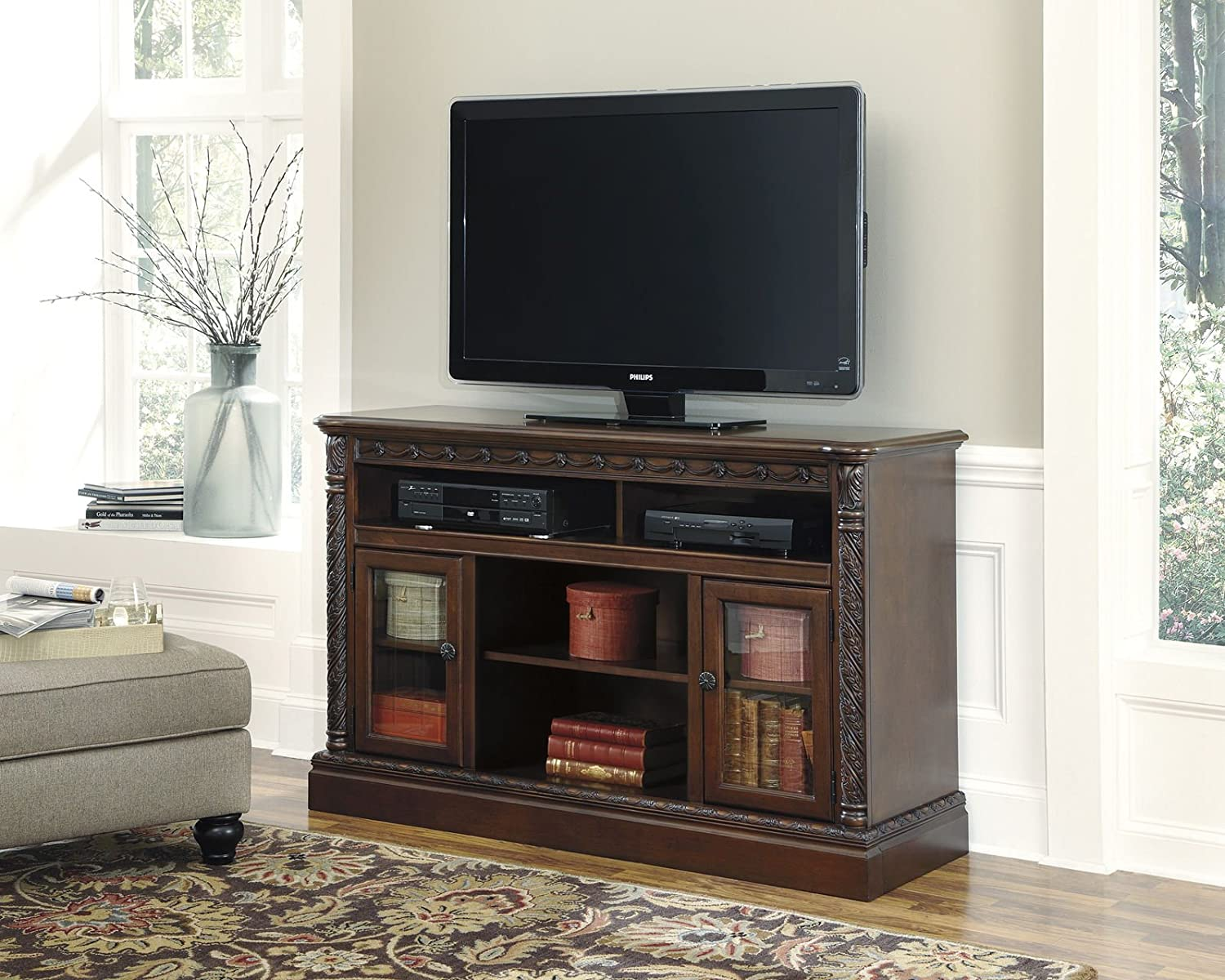 Buy North Shore W553-68 60 Large TV Stand with Fireplace and Audio Insert Compatibility 3 Adjustable Shelves 2 Doors and Carved Detailing in Dark Brown: Television Stands & Entertainment Centers - Amazon.com ? FREE DELIVERY possible on eligible purchases