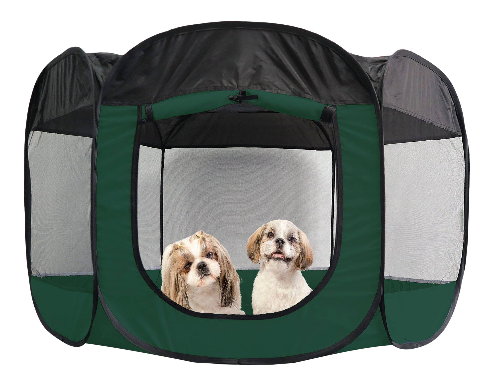 Furhaven Mesh Pet Playpen Hunter Green X-Large