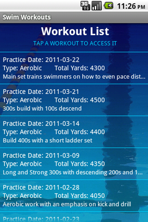 Swim Workouts Appstore For Android