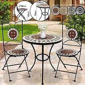 Mesa y Sillas Mosaico Set 1+2 - Redonda, Rojo-Blanco, Cerámica - Mobiliario Mosaico, Set Muebles Jardín, Juego Terraza, Conjunto Balcón: Amazon.es: Jardín