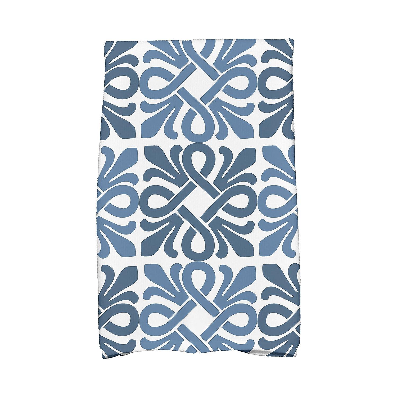 E by design HTG799BL44 Tiki Square, Geometric Print Hand Towels, 16 x 25, Blue