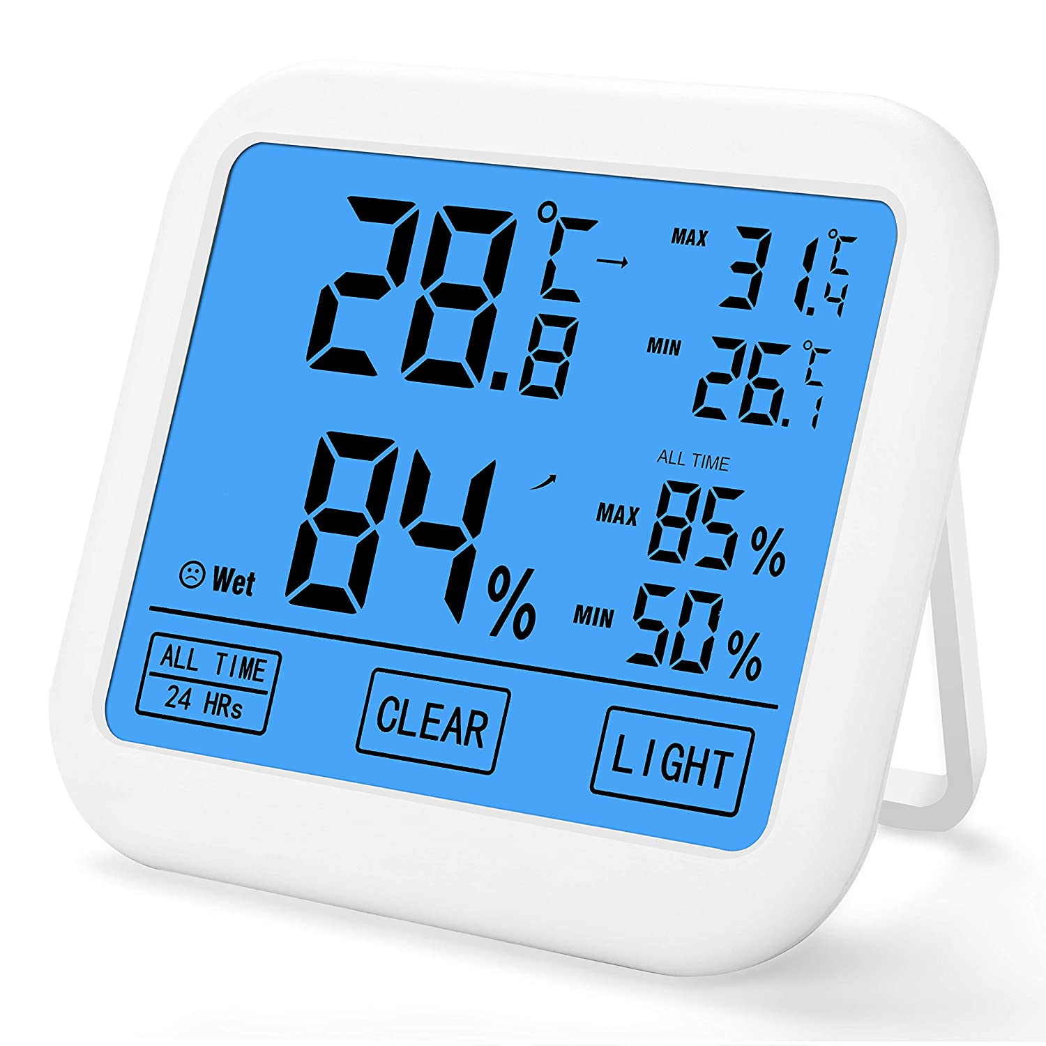 KEY NICE Digital Thermo-hygrometer Indoor Thermometer Hygrometer with Larger LCD Backlit Display, Min/Max Records Include Batteries, Monitor Temperature and Humidity for Home and Office