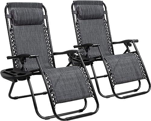 GUNJI Zero Gravity Chair Outdoor Lawn Folding Lounge Chairs Adjustable Reclining Patio Chairs Set of 2