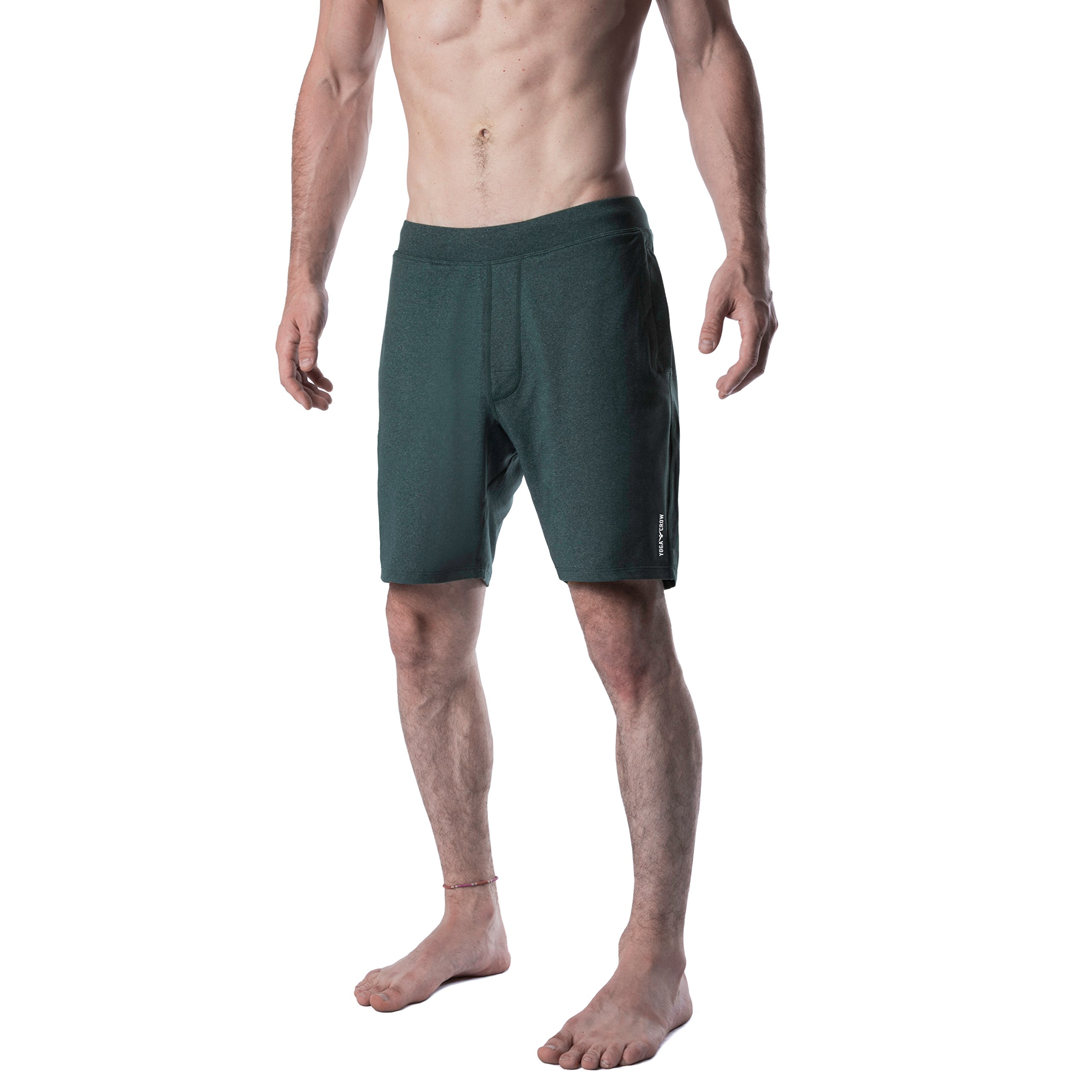 Yoga Crow Mens Swerve Shorts w/Odor-Resistant Inner Liner (Heather Green, Large) by Yoga Crow