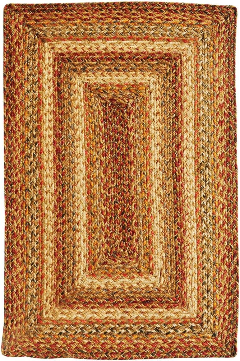 Homespice Rectangular Jute Braided Rugs, 8-Feet by 10-Feet, Harvest