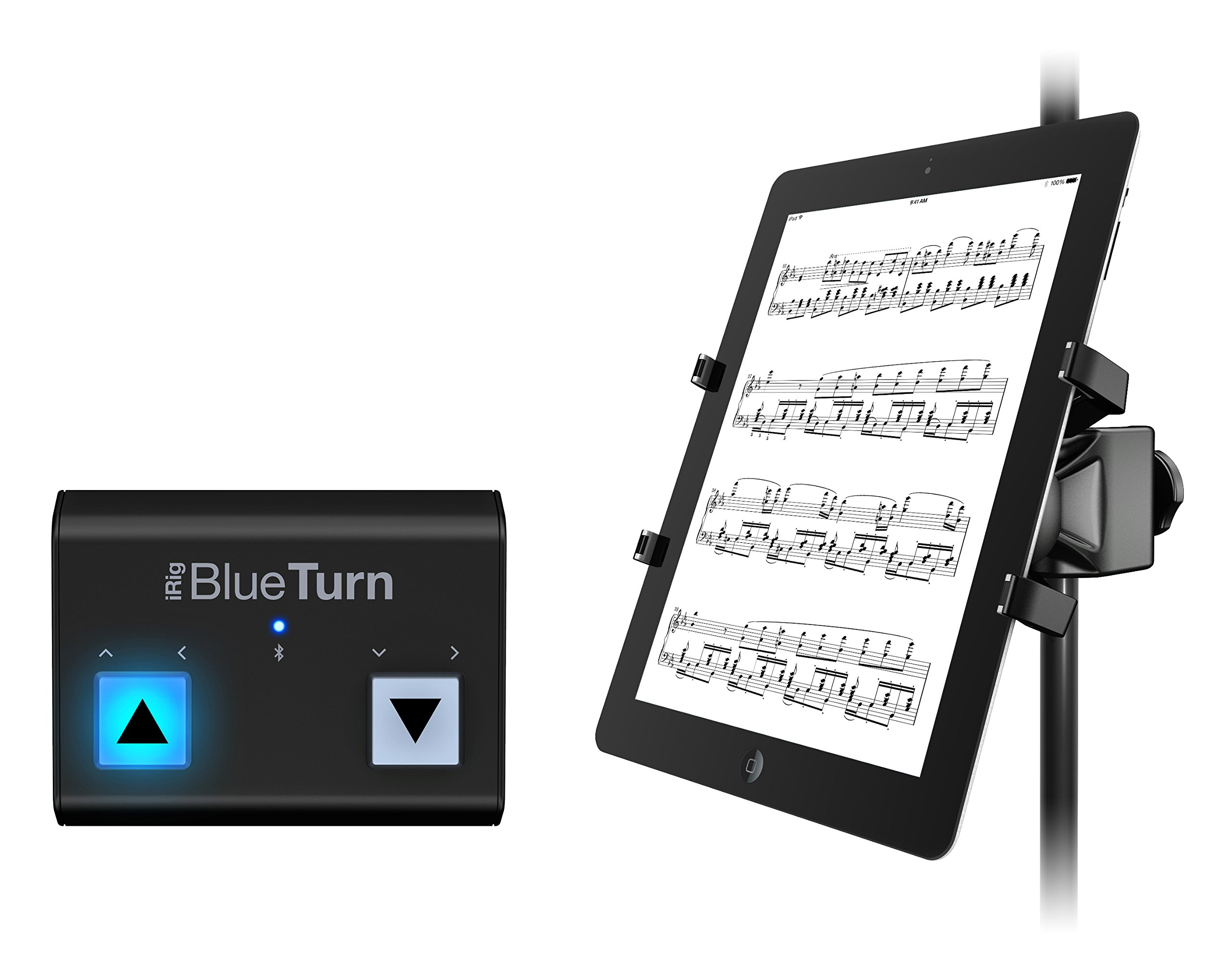 IK Multimedia Tablet Page Turner Bundle includes wireless page turner and microphone stand mount