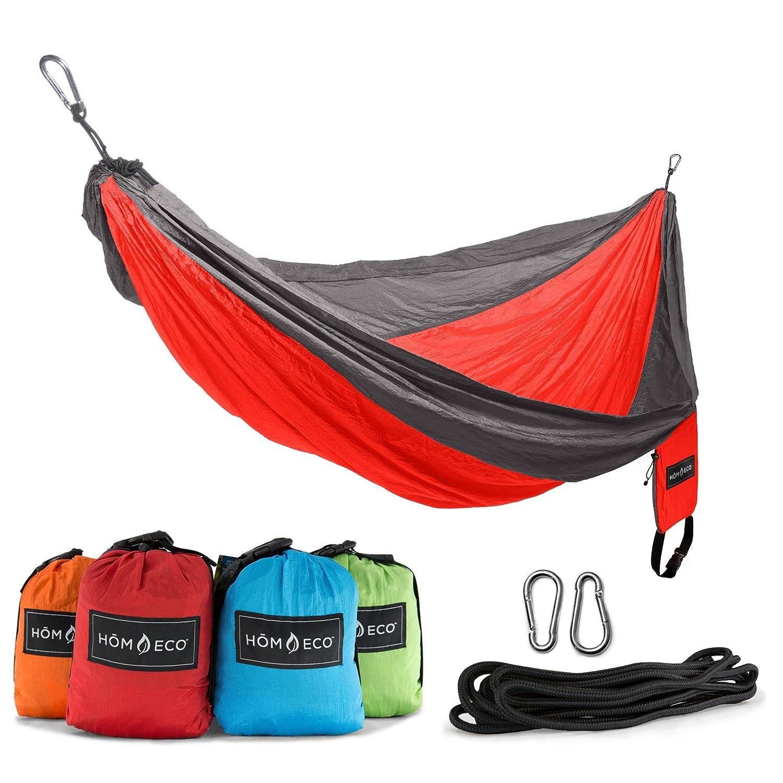 HomEco Camping Hammock, Lightweight Nylon Parachute Travel Hammocks, Double and Single Size
