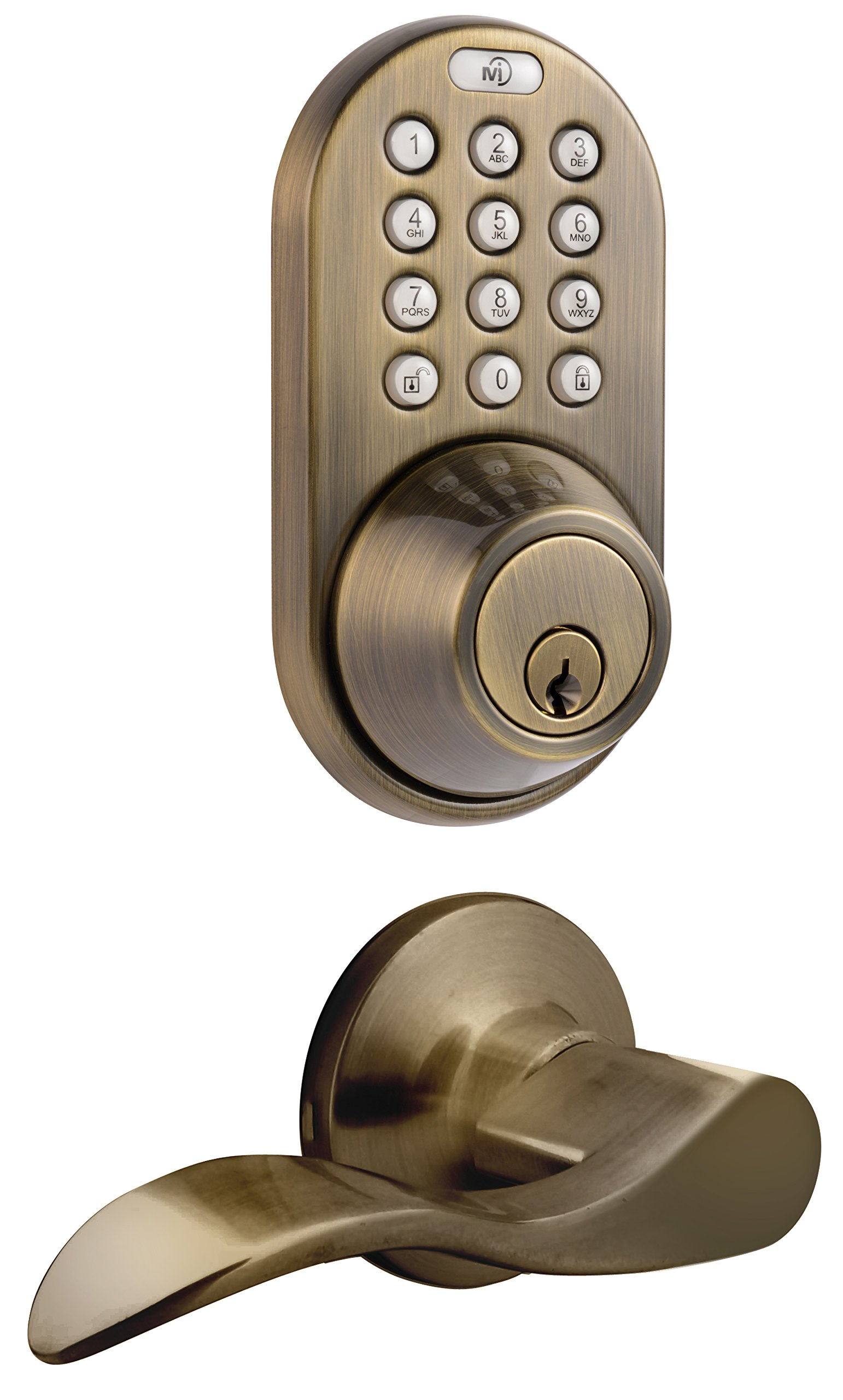 MiLocks DFL-02AQ Electronic Touchpad Entry Keyless Deadbolt and Passage Lever Combo, Antique Brass by MiLocks (Image #1)