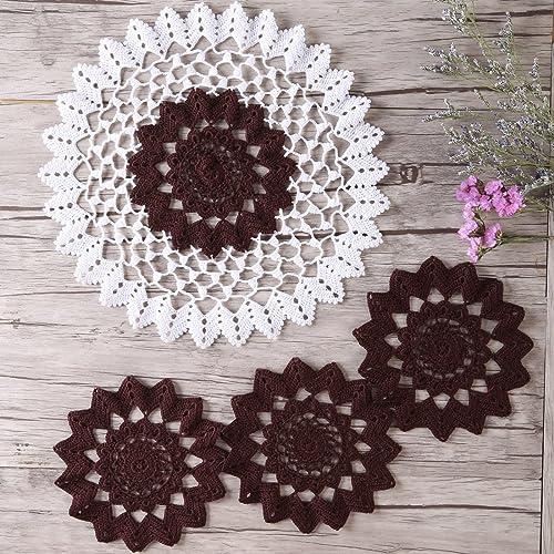 Amazoncom Zorjar Placemats Handmade Lace Crochet Mercerized Cotton
