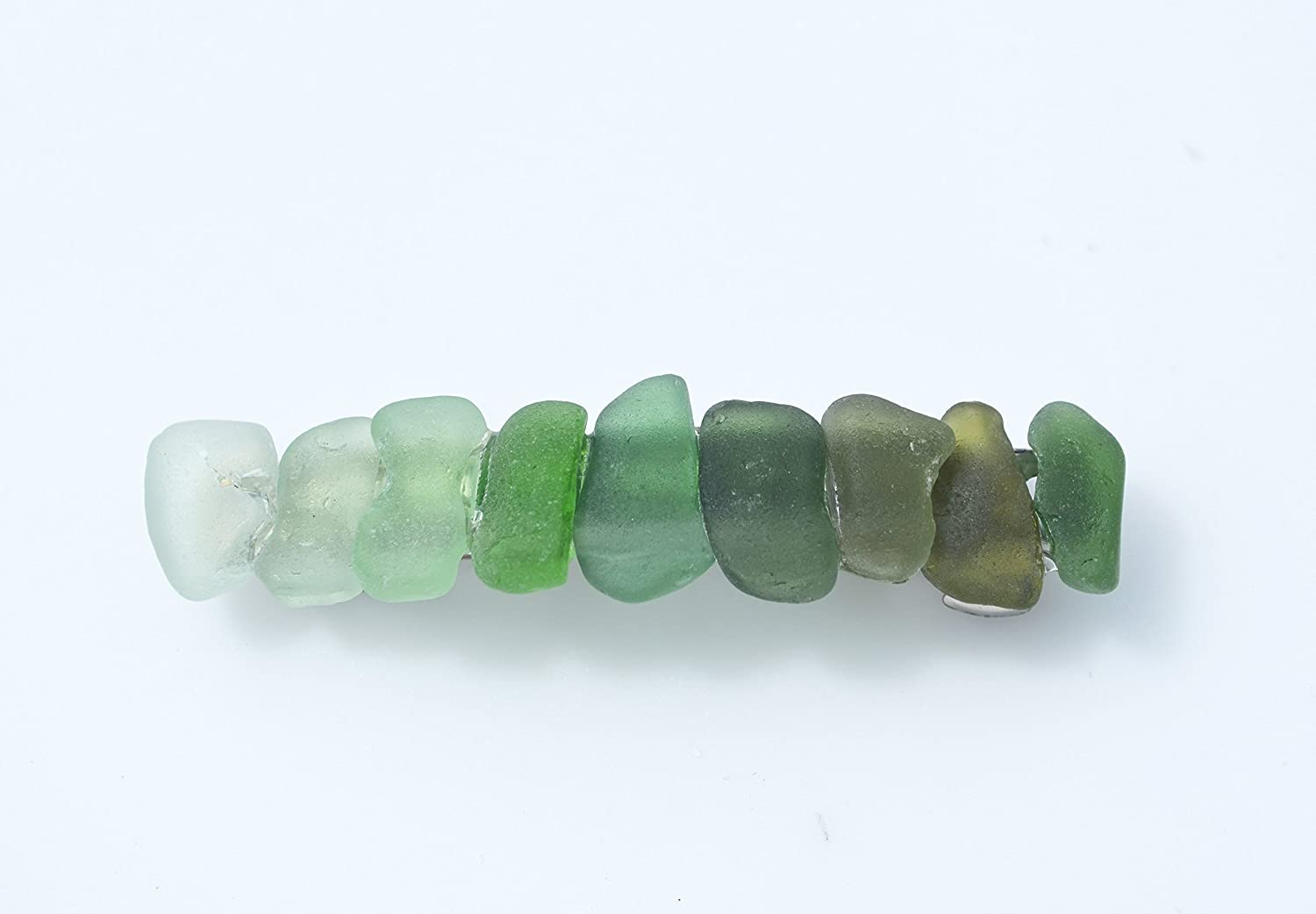 Gorgeous Genuine Shades of Green Sea Glass French Barrette Hair Clip