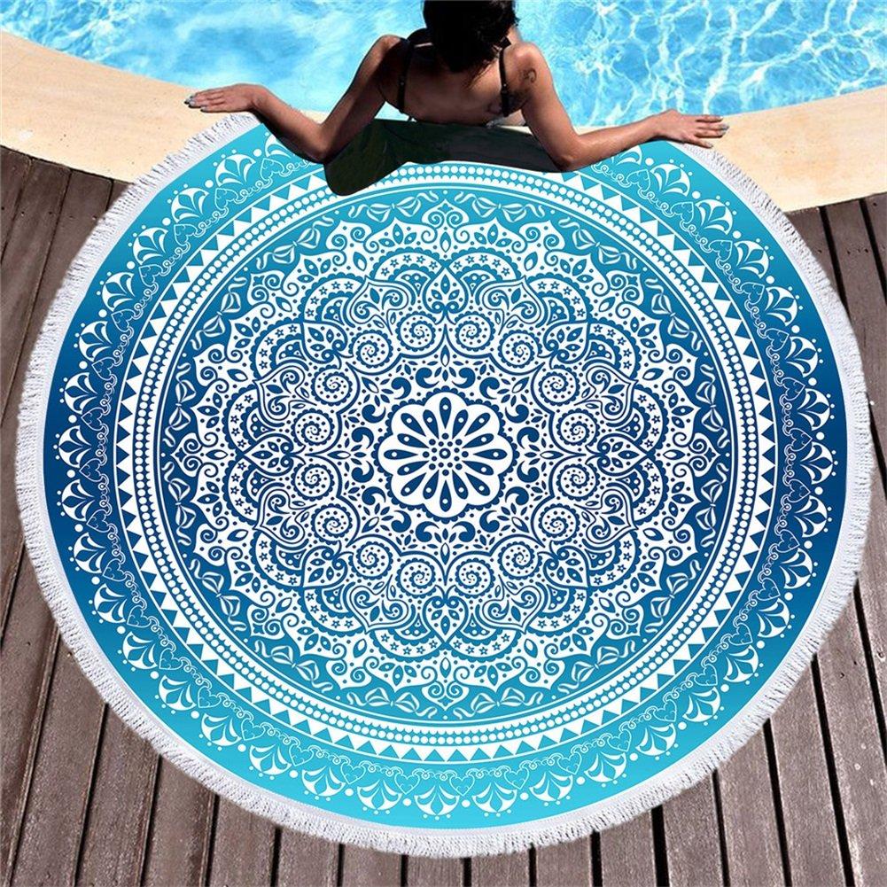 Amazon.com: KTLRR Bohemian Round Beach Towel Sky Blue Tassel ...