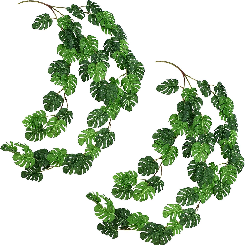 FiveSeasonStuff Hanging Monstera Plant Garlands, Monstera Leaves Artificial Vine Garland with Bendable Stems for Wedding Home Décor (2 Pcs, 5.2 Feet)