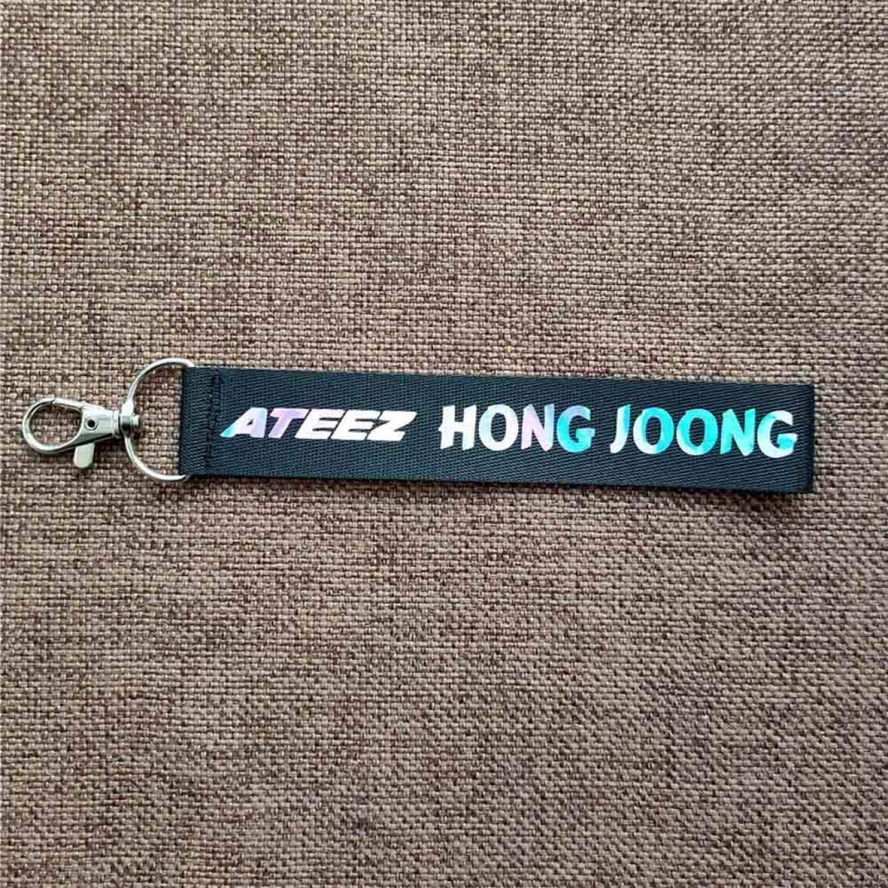 Angshi Elaborate Ateez Laser Lanyard Portachiavi Portachiavi Phone Holder Strap Seong Hwa Hong Joong Yeo Sang Yun Ho Jong Ho Woo Young Signature Lanyard Hong Joong. Nylon