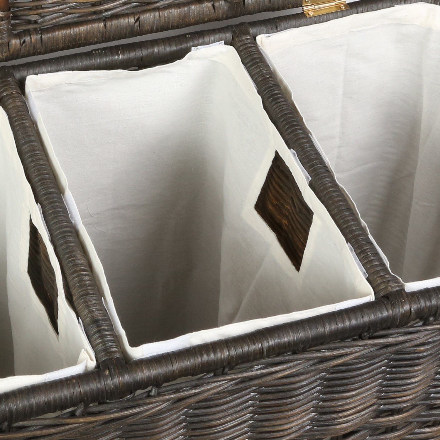 The Basket Lady Fabric Liner for 3-Compartment Wicker Laundry Hamper (LINER ONLY), One Section, Natural by The Basket Lady (Image #2)