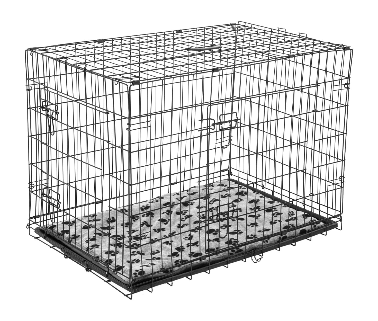 PawHut Transport / Drahtkäfig Hundebox mit Kissen, XL, schwarz