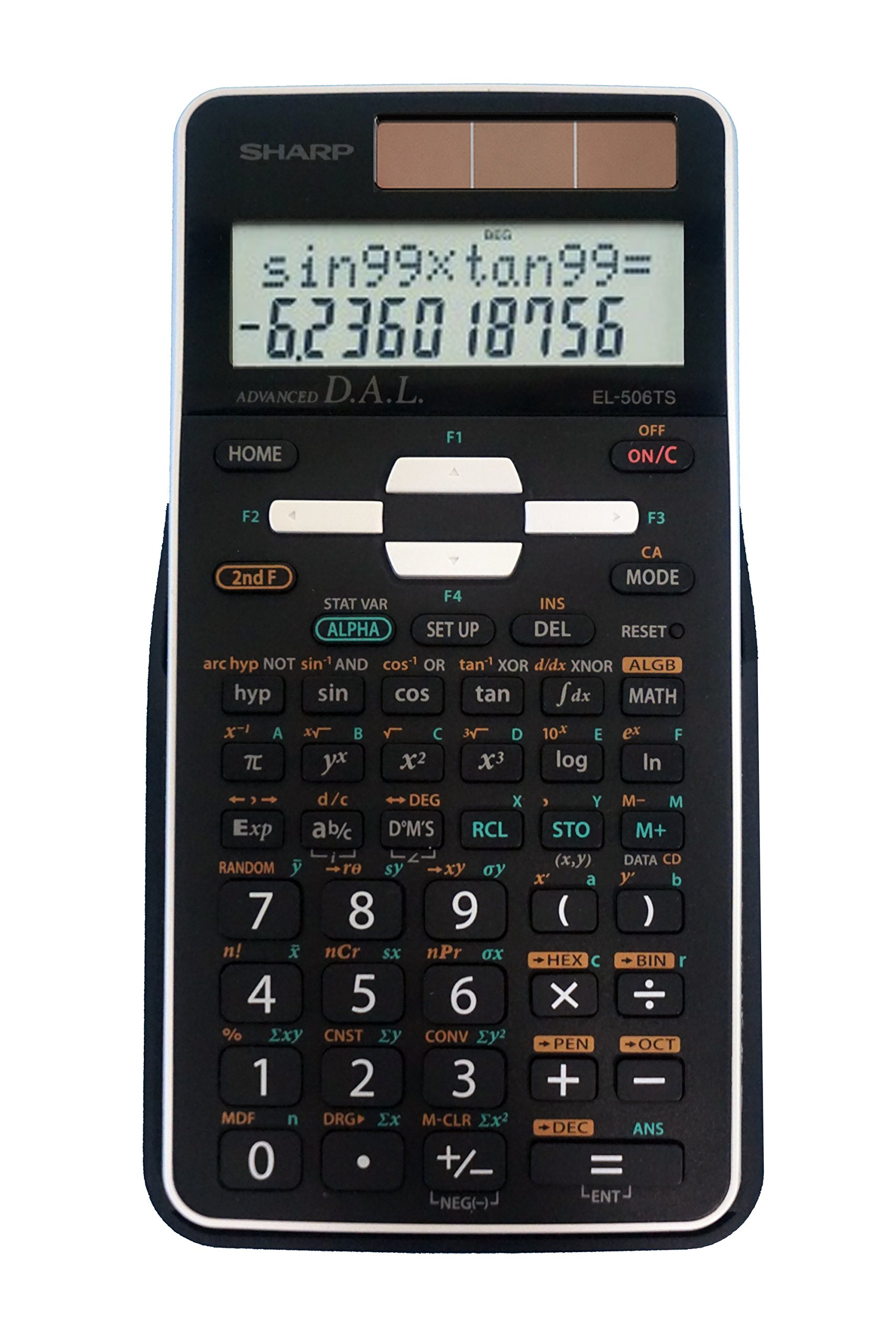 Sharp EL-506TSBBW 12-Digit Engineering/Scientific Calculator with Protective Hard Cover, Battery and Solar Hybrid Powered LCD Display, Great for Students and Professionals, Black by Sharp