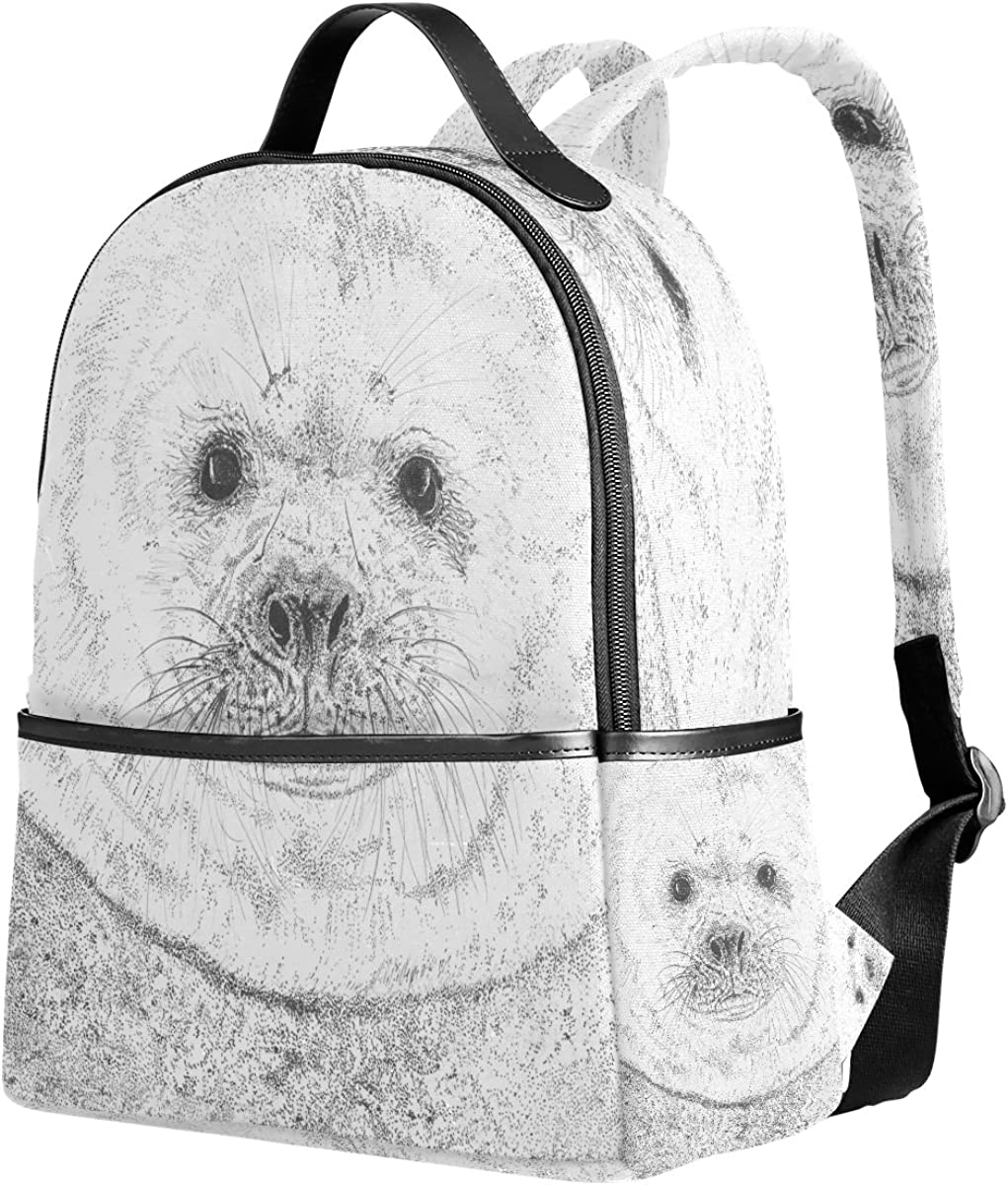 Mr.Weng Small Seals Printed Canvas Backpack For Girl and Children