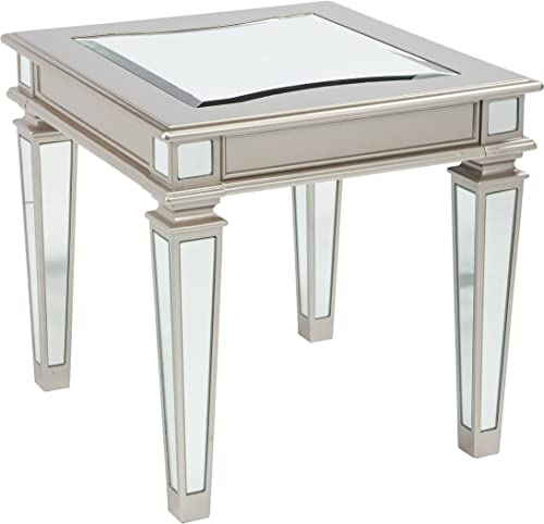 Signature Design by Ashley – Tessani Contemporary Rectangular End Table, Silver