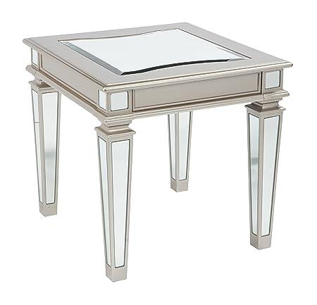 Ashley Furniture Signature Design – Tessani Contemporary Rectangular End Table – Silver