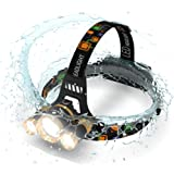 Brightest and Best 6000 Lumen Bright Headlamp Flashlight , IMPROVED LED with Rechargeable Batteries for Reading Outdoor Running Camping Fishing Walking - Waterproof Headlight by MsForce