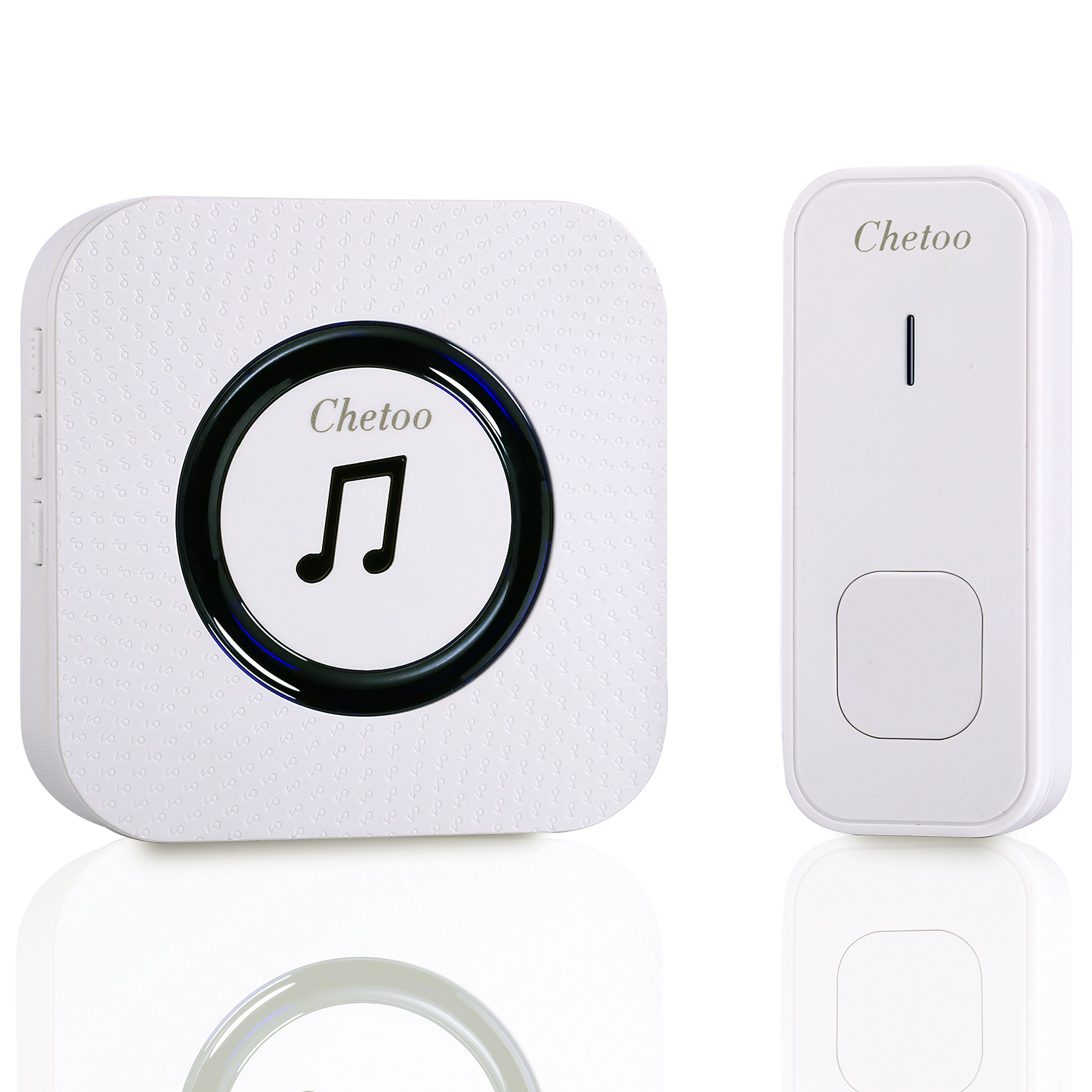 CHETOO Wireless Doorbell System- Best Set Of 1 Plug-In Long Range Wireless Receiver + 1 IP55 Waterproof Remote Push Button– Top Remote Doorbell With 55 Chimes & LED Indicator For Home/ Office- White