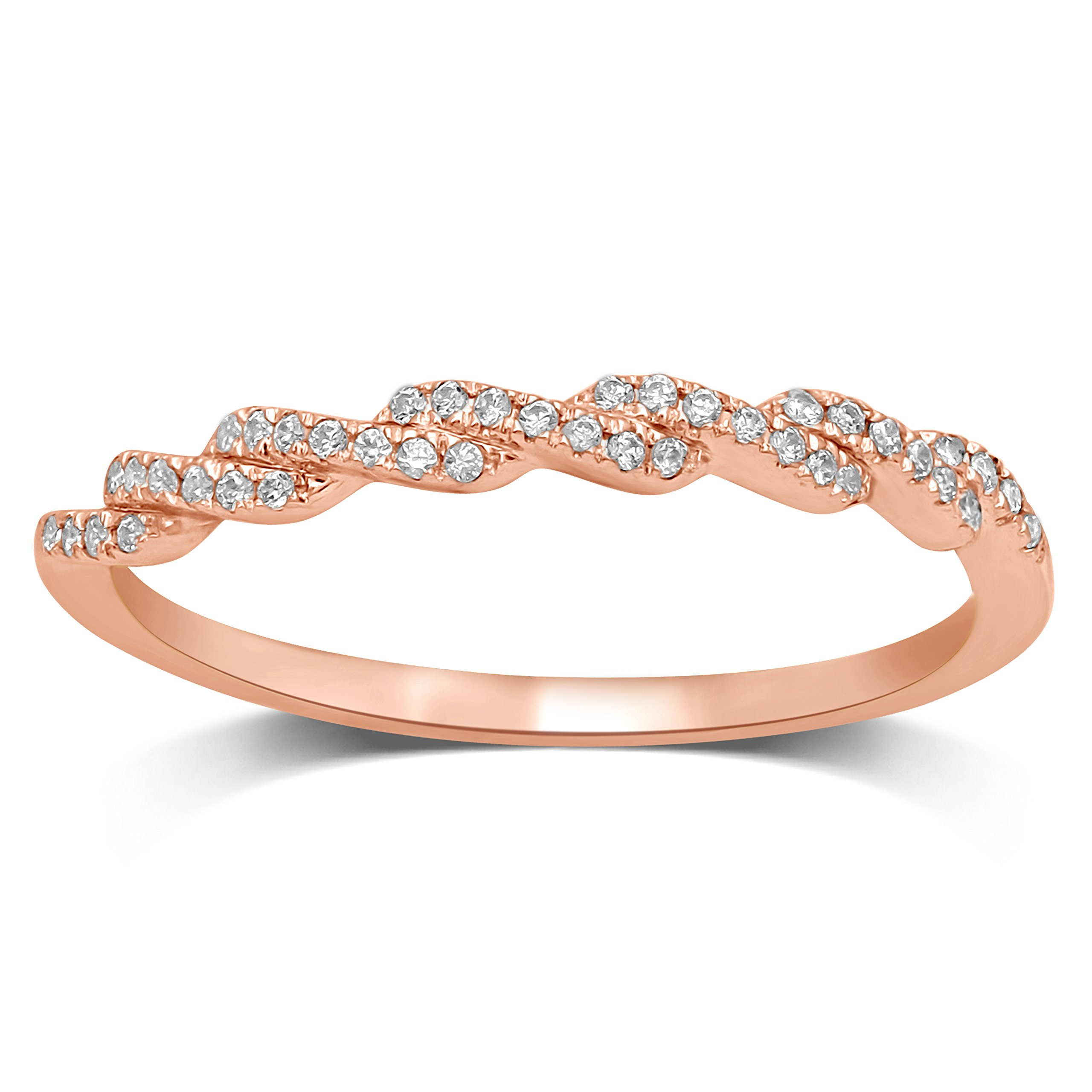 Diamond Jewel 10K Rose Gold 1/10 ctw Diamond (I-J Color, I2 Clarity) Stackable Twist Fashion Band