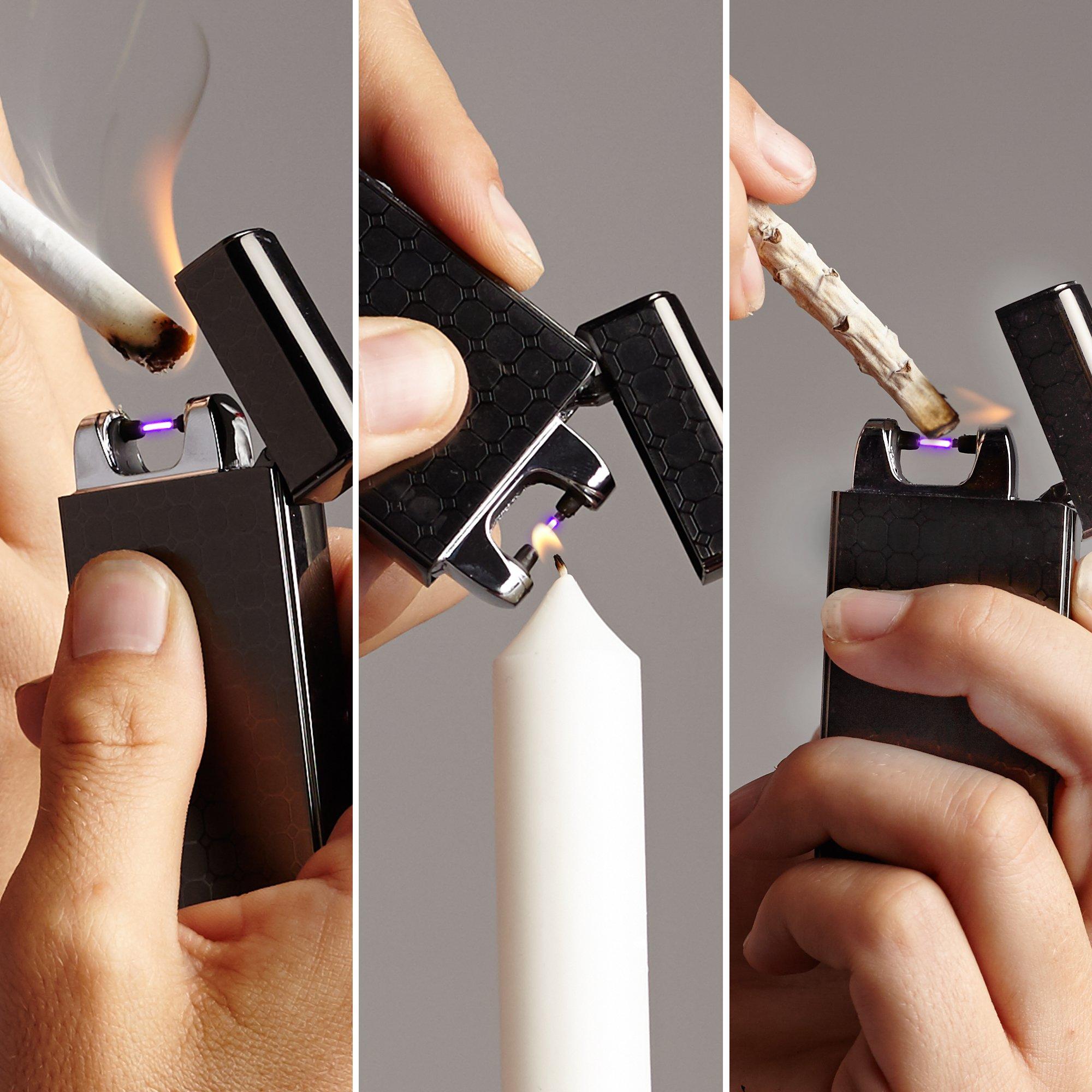 SaberLight - Revolutionary Flameless Plasma Beam Lighter - Rechargeable - Airport Safe - Butane Free - Flameless - Splash Proof - Windproof - No Harmful Chemicals - Lifetime Warranty (1 Pack)