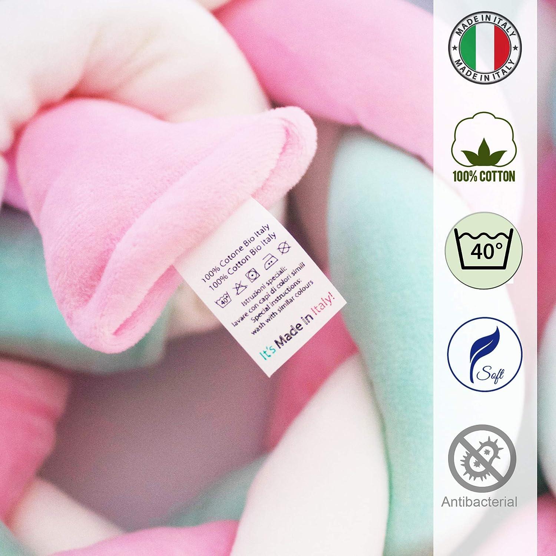 Giovanni Dolcinotti Baby Collection 170 x 20 cm 100/% Cotone Made in Italy Avorio Riduttore Paracolpi Sfoderabile per Culla