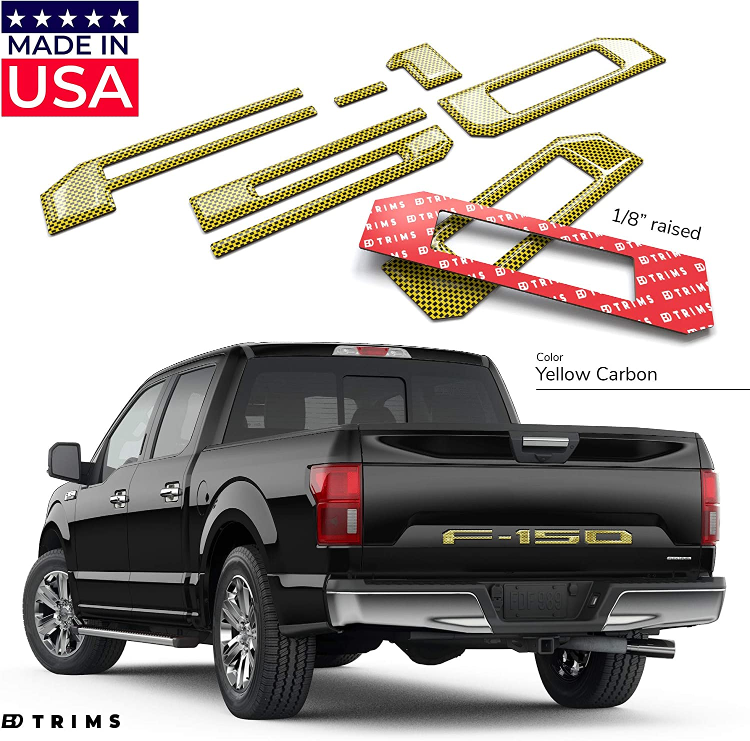 Orange BDTrims Domed 3D Raised Tailgate Letters Compatible with 2018-2020 F-150 Models
