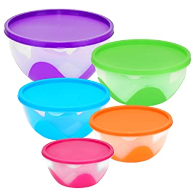 Southern Homewares SH-10134 Purpos Nested & Stackable Bowl Food Storage Containers 5 Piece Silicone Plastic Multi-Purpose Set, One Size, Multicolor